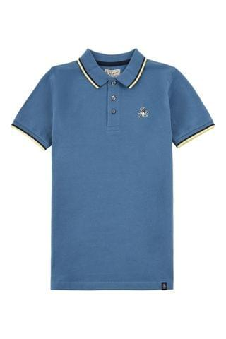 KIDS Original Penguin Blue Contrast Tipping Polo Shirt