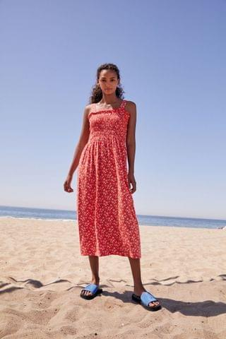 WOMEN Red Floral Shirred Dress