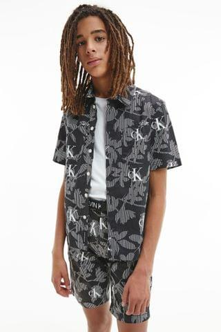 KIDS Calvin Klein Jeans Black Tropical Short Sleeve Shirt