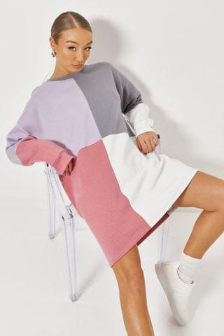 WOMEN Missguided Oversized Colour Block Sweater Dress