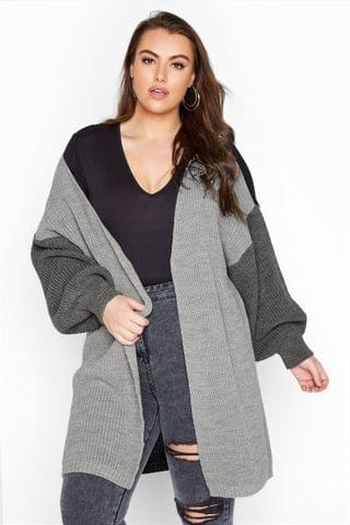 WOMEN Yours Colour Block Oversized Knitted Cardigan