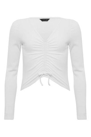 KIDS Kylie White Long Sleeve Ribbed Ruched Top