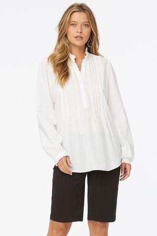 WOMEN NYDJ White Popover Pleated Front Tunic Top