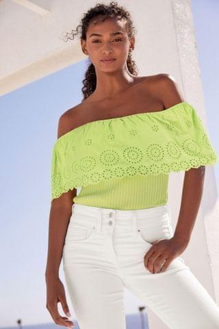 WOMEN Lime Broderie Off The Shoulder Top