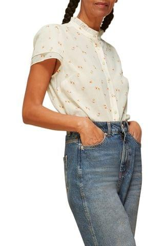 WOMEN Whistles Forget Me Not Floral Frill Neck Blouse