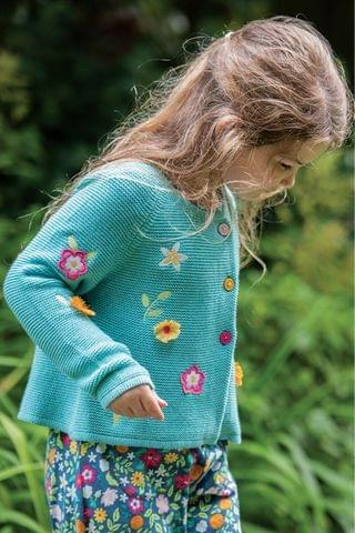KIDS Frugi Organic Cotton Green Floral Cardigan