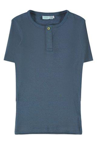 KIDS Name It Ribbed Button Up T-Shirt