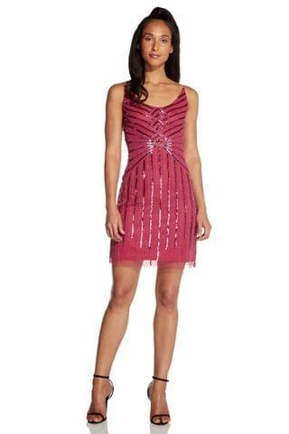 WOMEN Hailey Logan by Adrianna Papell Red Beaded Mini Cocktail Dress