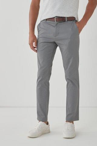 MEN Grey Belted Geo Print Chino Trousers