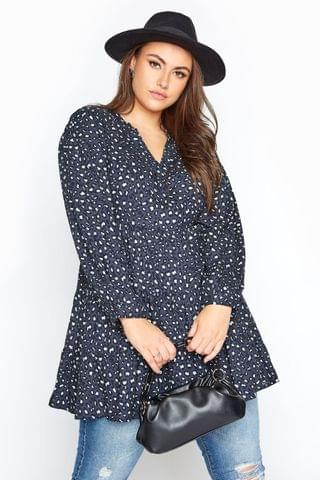WOMEN Yours Limited Leopard Print Tiered Smock Blouse