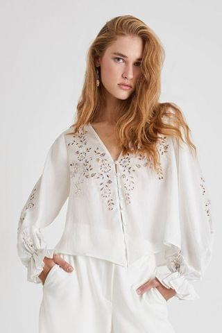 WOMEN French Connection Gigi Embroidered Drape Crop Top