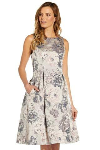 WOMEN Adrianna Papell Silver Multi Floral Jacquard Fit And Flare Dress