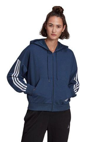 WOMEN adidas 3 Stripe Sport Fashion Zip Through Hoodie