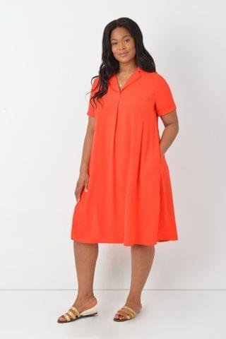 WOMEN Live Unlimited Curve Red Flared Shirt Dress