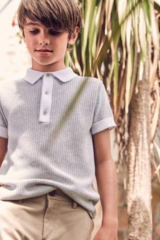 KIDS Grey Textured Knitted Polo Shirt (3-16yrs)