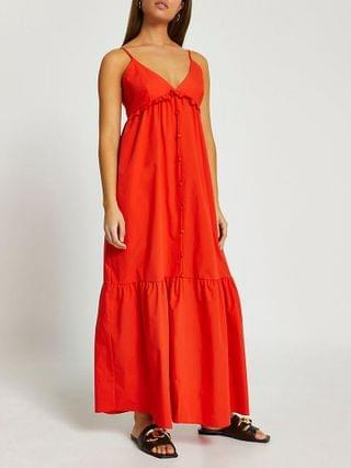 WOMEN Red poplin tiered maxi dress