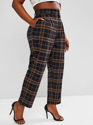WOMEN Plus Size High Waisted Plaid Print Tapered Pants