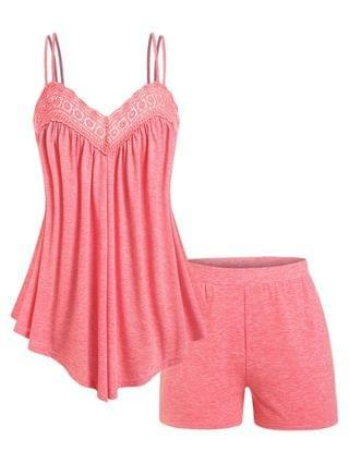 WOMEN Plus Size Lace Panel Flowy Cami Top and Shorts Pajamas Set