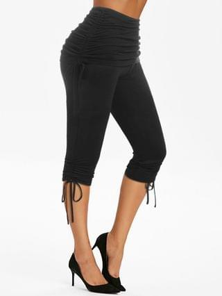 WOMEN High Waist Ruched Cinched Cropped Pants