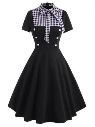 WOMEN Pussy Bow Gingham Mock Button Dress