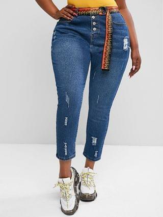 WOMEN Plus Size Distressed Button Fly Jeans