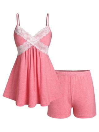 WOMEN Plus Size Lace Panel Pajama Cami Skirted Top and Shorts Set