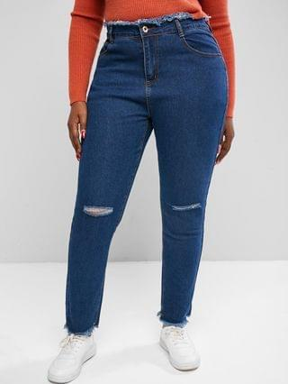 WOMEN Plus Size Raw Trims Distressed Jeans