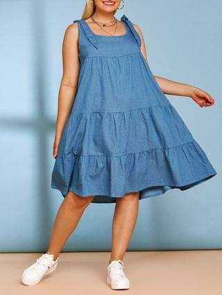 WOMEN Tiered Bowknot Plus Size Casual Chambray Dress