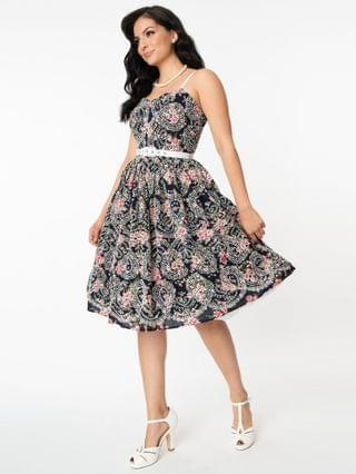 WOMEN Unique Vintage Navy Floral Eyelet Darcy Swing Dress
