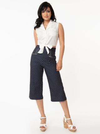 WOMEN Unique Vintage Blue Denim & White Pin Dot Ginger Culottes