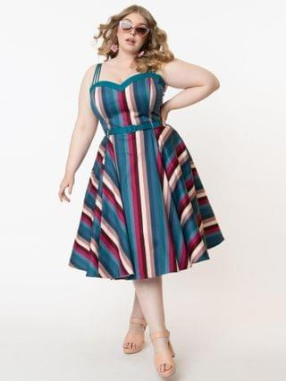WOMEN Collectif Plus Size Teal & Pink Stripe Paradise Nova Swing Dress