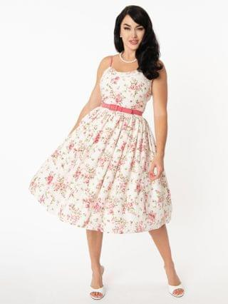 WOMEN Unique Vintage White Eyelet & Floral Print Darcy Swing Dress