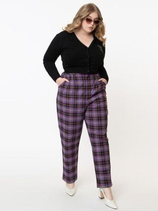WOMEN Plus Size Retro Style Purple Plaid Lex Pants