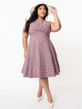 WOMEN Unique Vintage Plus Size 1950s Pink & Black Plaid Monaco Swing Dress