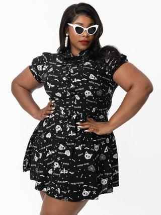 WOMEN Collectif Plus Size Black Creepy Girl Print Mary Grace Fit & Flare Dress
