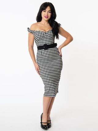 WOMEN Unique Vintage 1960s Black & White Gingham Connie Wiggle Dress