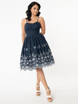 WOMEN Unique Vintage Navy & White Eyelet Border Darcy Swing Dress