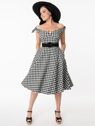 WOMEN Unique Vintage Black & White Gingham Prairie Swing Dress