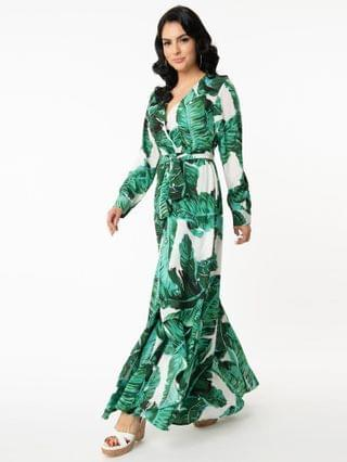 WOMEN Unique Vintage Palm Print Farrah Maxi Dress