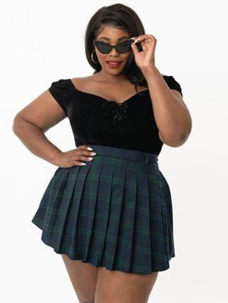 WOMEN Collectif Plus Size Navy & Emerald Plaid Daria Mini Skirt