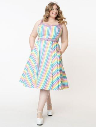 WOMEN Collectif Plus Size Pastel Rainbow Stripe Nova Swing Dress