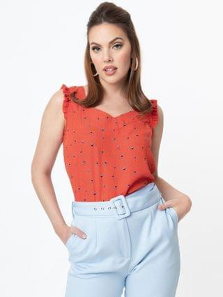 WOMEN Red Abstract Pattern & Blue Floral Print Sleeveless Blouse