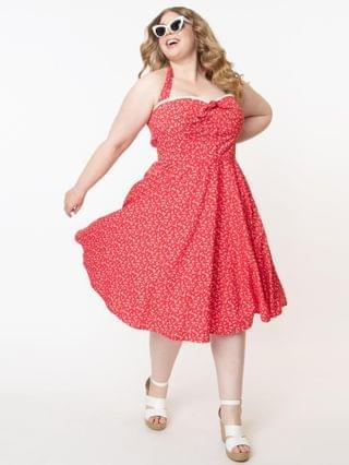 WOMEN Plus Size Retro Red & White Floral Halter Kimberley Swing Dress