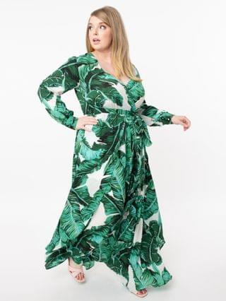 WOMEN Unique Vintage Plus Size Palm Print Farrah Maxi Dress