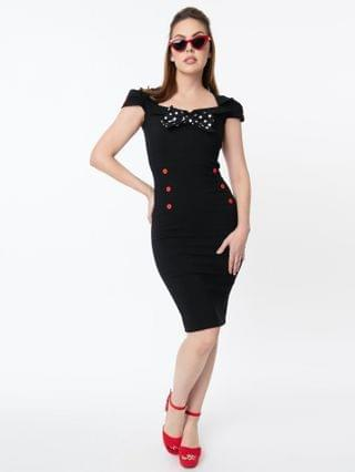 WOMEN Vintage Style Black & Red Button Wiggle Dress