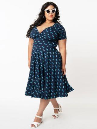 WOMEN Unique Vintage Plus Size Navy & Dragonfly Print Short Sleeve Delores Swing Dress