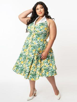 WOMEN Unique Vintage Plus Size Green & Yellow Floral Print Idyllwild Swing Dress