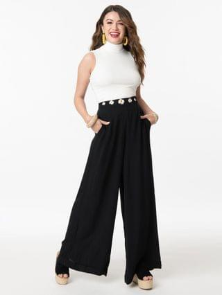 WOMEN Collectif Black Daisy Dreamer High Waist Kim Pants
