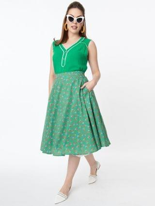WOMEN Vintage Style Green Dotted & Red Floral Swing Skirt