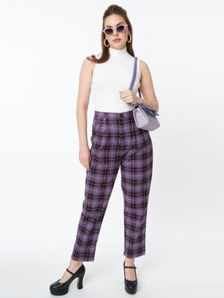 WOMEN Retro Style Purple Plaid Lex Pants